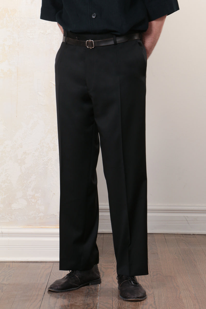 Black Tropical Wool Straight Cut Trousers