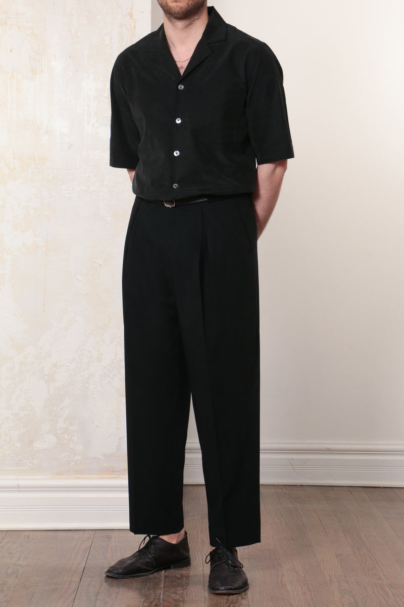 Black Dry Tropical Wool Twill Parachute Trousers