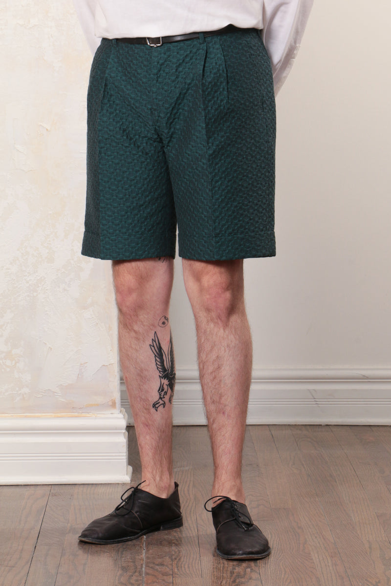 Petrol Green Floral Cotton Jacquard Tailored Cut Shorts