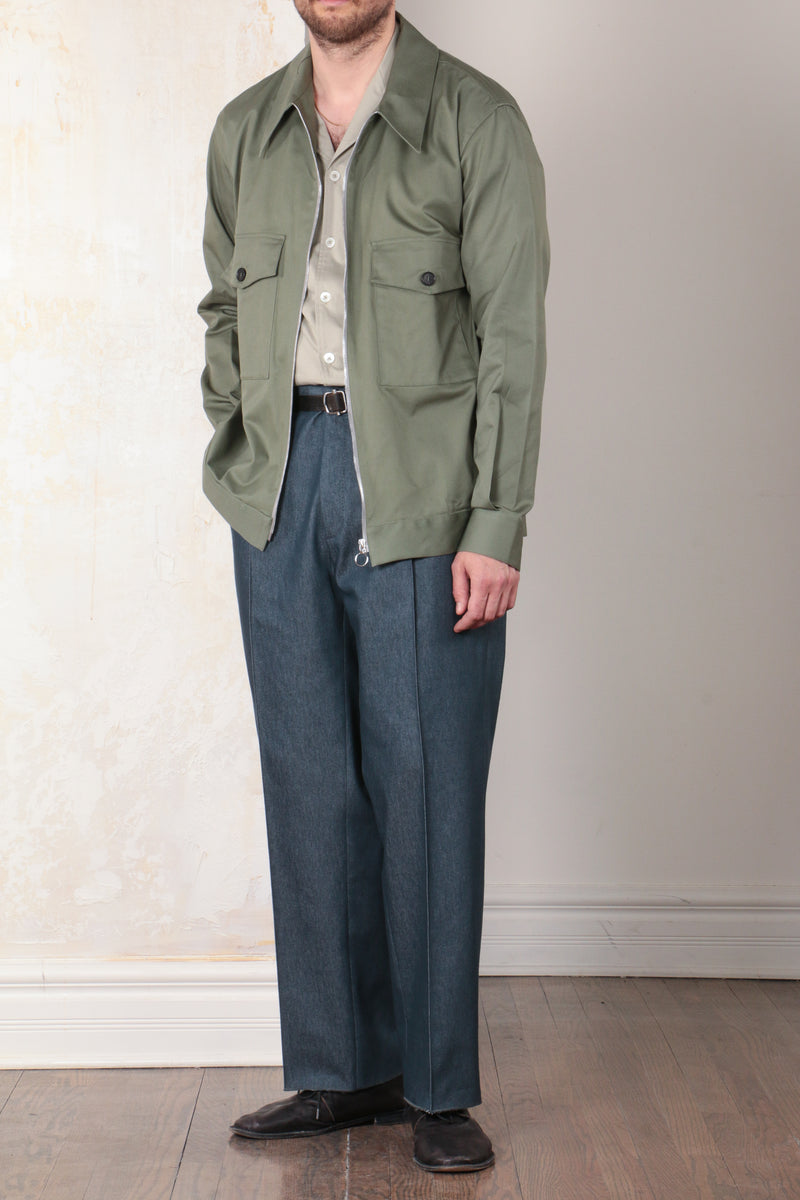 Sage Unstructured Cotton Twill Two-Pocket Blouson