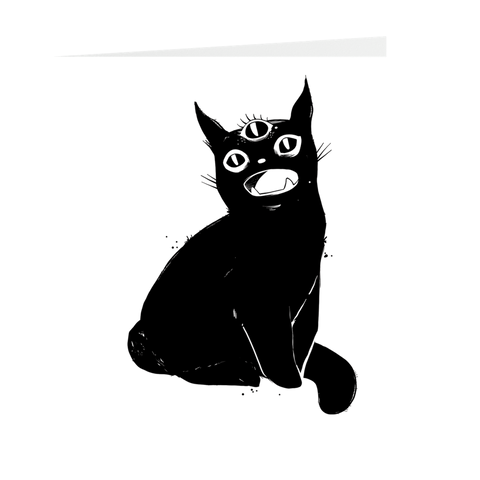 Black Cat With Third Eye Folded Greeting Card