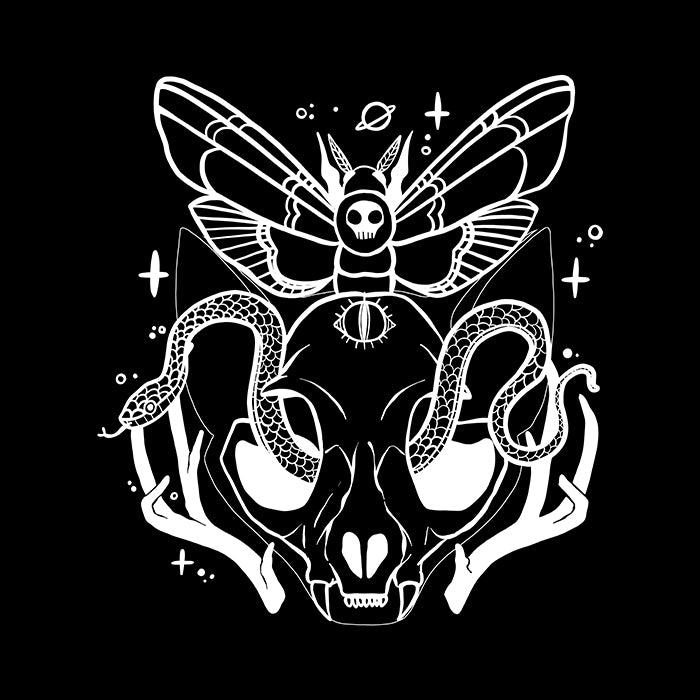 Cat Skull Death head Moth Art Poster