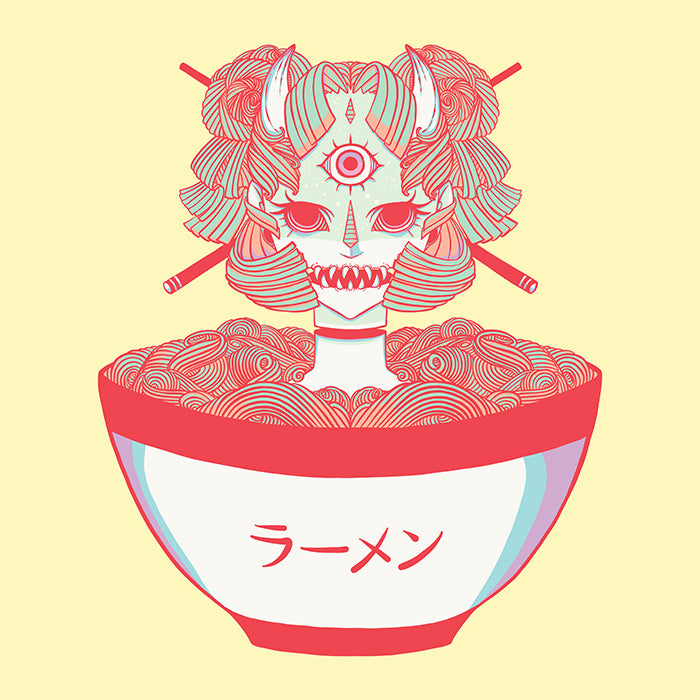 Monster Girl Ramen Noodle Matte Art Print Poster