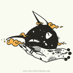 Black Cat Witch Hand, Unisex T-Shirt, White
