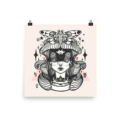 Witch Girl And Death Head Moth Matte Wall Art Print Poster