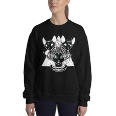 Witch & Sphynx Cats Sweatshirt, Black