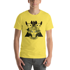 Sphynx Cats And Strange Girl Unisex T-Shirt, Yellow