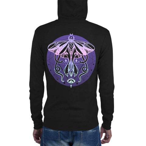 Luna Moth Unisex Zip-Up Hoodie, Black