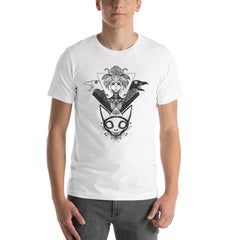 witch with cat skull tshirt design