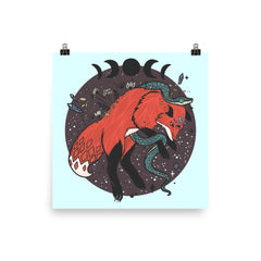 Jumping Fox And Snake Matte Art Print Poster
