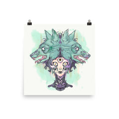 VooDoo Witch And Wolves Matte Art Print Poster