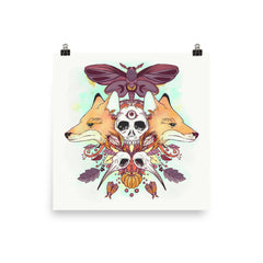 Autumn Foxes Matte Art Print Poster