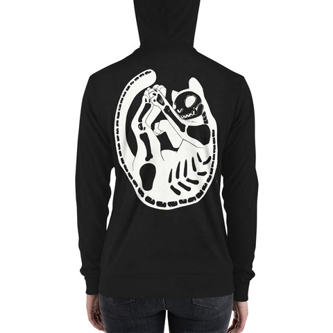 Cat Skeleton, Unisex Lightweight Hoodie, Black