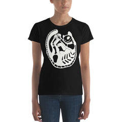 Cat Skeleton, Ladies T-Shirt, Black
