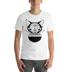 Cat Skull Ramen Unisex T-Shirt, White