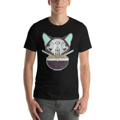 Cat Skull Ramen, Unisex T-Shirt, Black