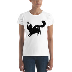 Space Cat, Ladies T-Shirt, White