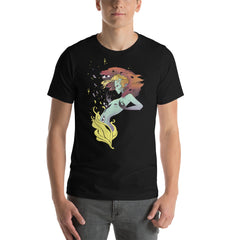 Fire Witch With Wolves, Unisex T-Shirt, Black