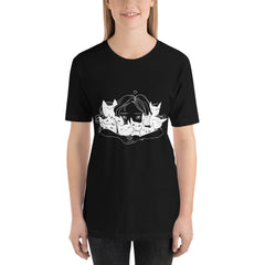 Girl Hugging Cats, Unisex T-Shirt, Black