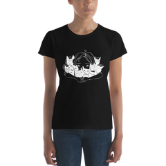 Girl Hugging Cats, Ladies T-Shirt, Black