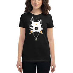 Two Headed Cat, Ladies T-Shirt, Black