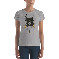 Two Headed Witch Cat, Ladies T-Shirt, Gray
