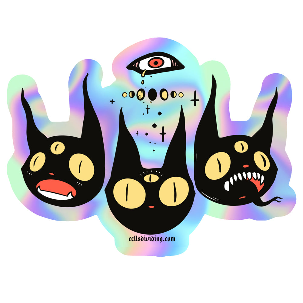 Three Black Cats, Holographic Sticker