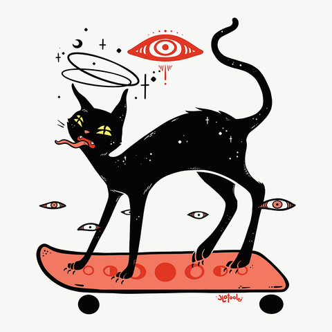 Cat On Skateboard, Matte Art Print Poster