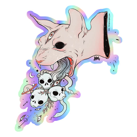 Cat & Skulls, Holographic Sticker