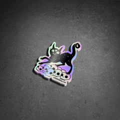 Cat On Skulls, Holographic Sticker
