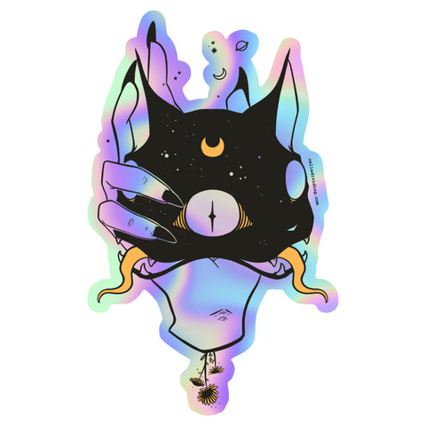 Two Headed Cat, Holographic Sticker