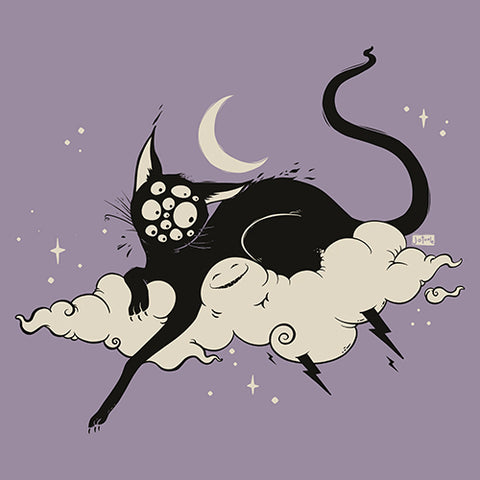 Black Cat On Cloud, Matte Art Print Poster