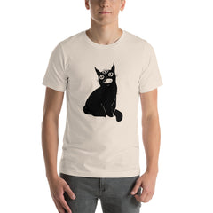 black cat t-shirt with artwork by jennifer otoole