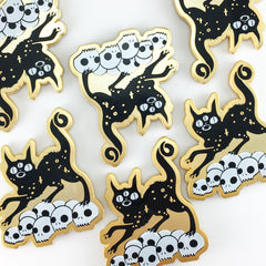 Black Cat On Skulls, Enamel Pin