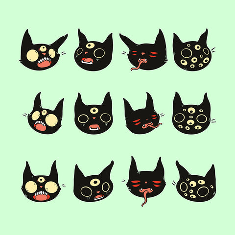 Cat Heads, Matte Art Print Poster
