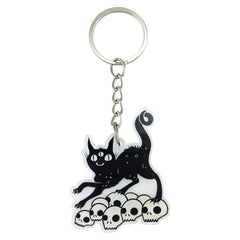 Black Cat On Skulls, Keychain