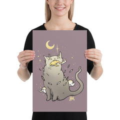 Cat With Whale, Matte Art Print Poster