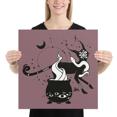 Cat And Witches' Cauldron, Matte Art Print Poster