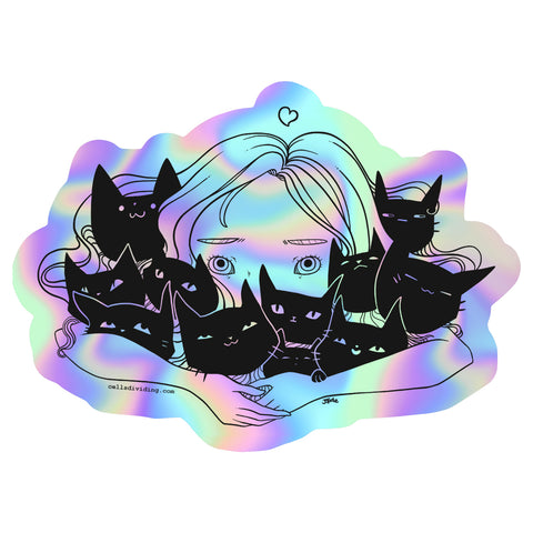 Girl Hugging Cats, Holographic Sticker