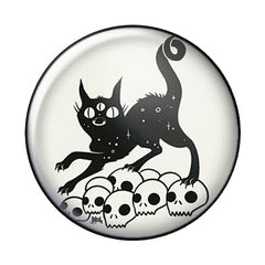 Cat On Skulls, 1-Inch Pin Button
