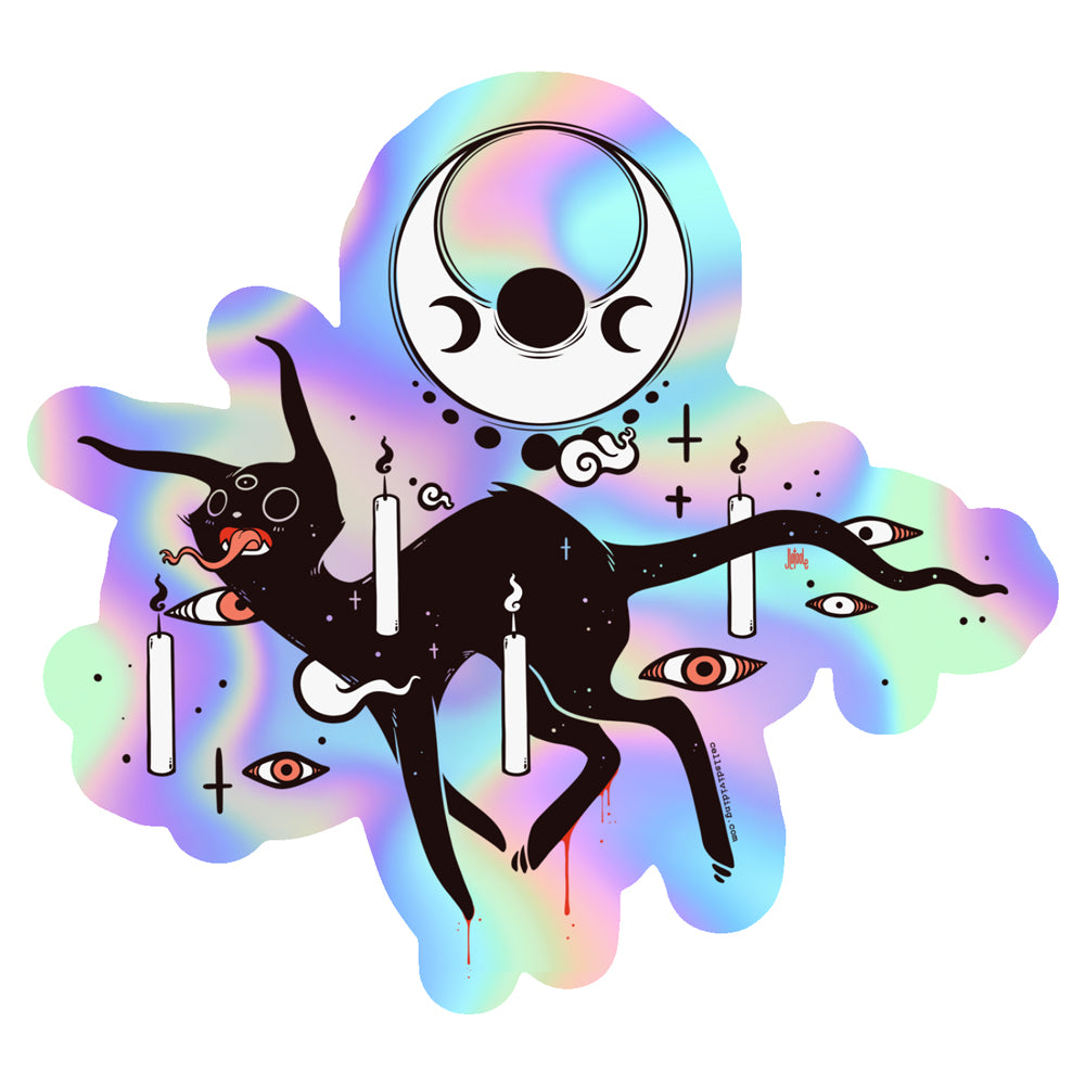 Spooky Cat, Holographic Sticker