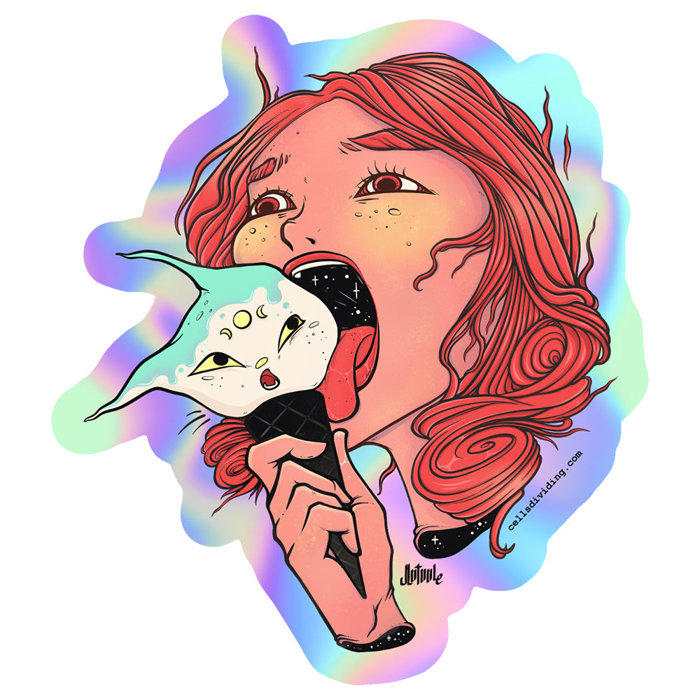 Girl And Cat Ice Cream, Holographic Sticker