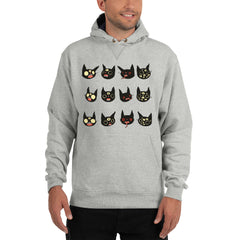 Weird Cats, Champion Hoodie, Gray Light Steel