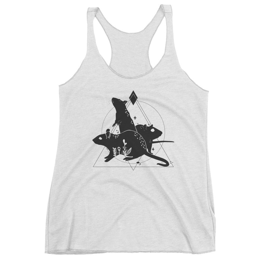 white racerback tank top with rats