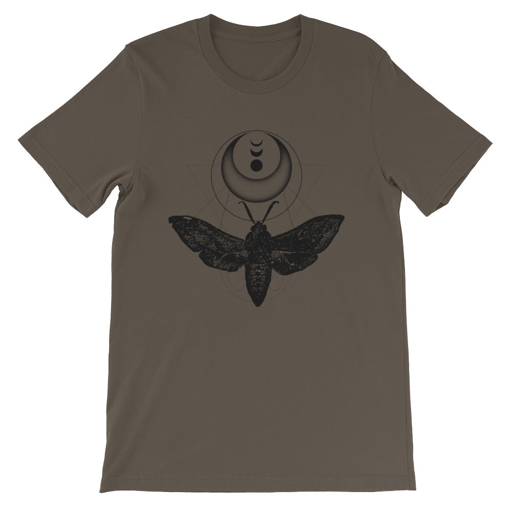 Moth And Crescent Moon Phase Short-Sleeve Unisex T-Shirt