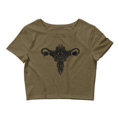 Death Metal Uterus, Women's Crop Top, Heather Olive