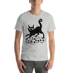 Black Cat On Skulls, Unisex T-Shirt, Athletic Heather