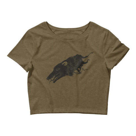 Opossum, Women's Crop Top, Heather Olive