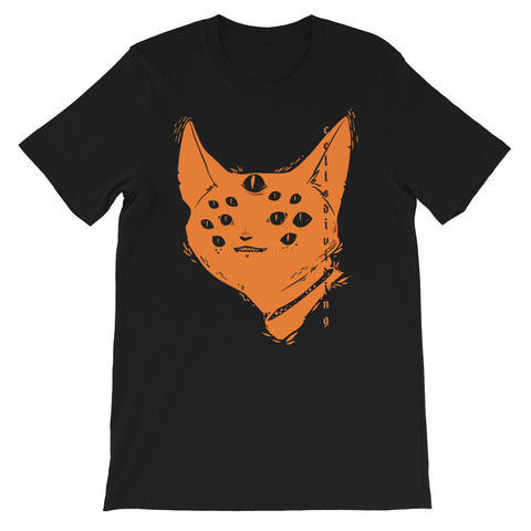 Many Eyed Cat, Unisex T-Shirt, Black