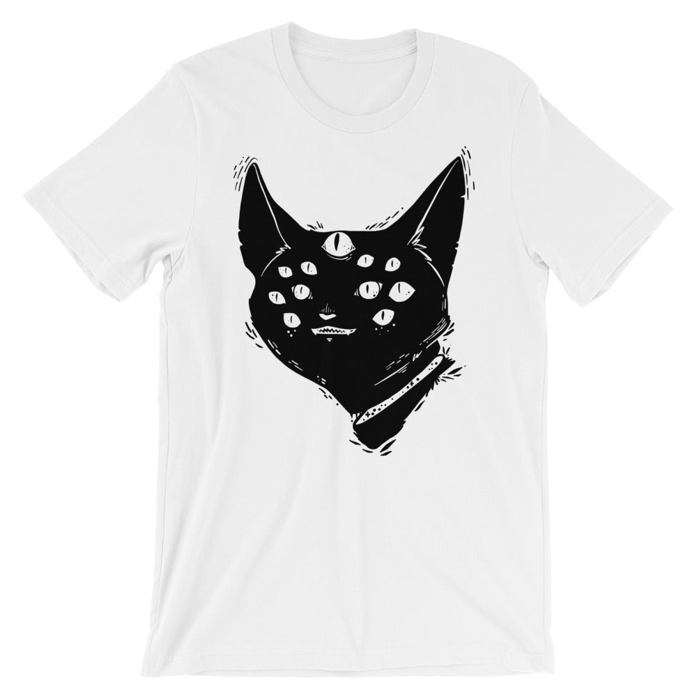 Many Eyed Monster Cat, Unisex White T-Shirt